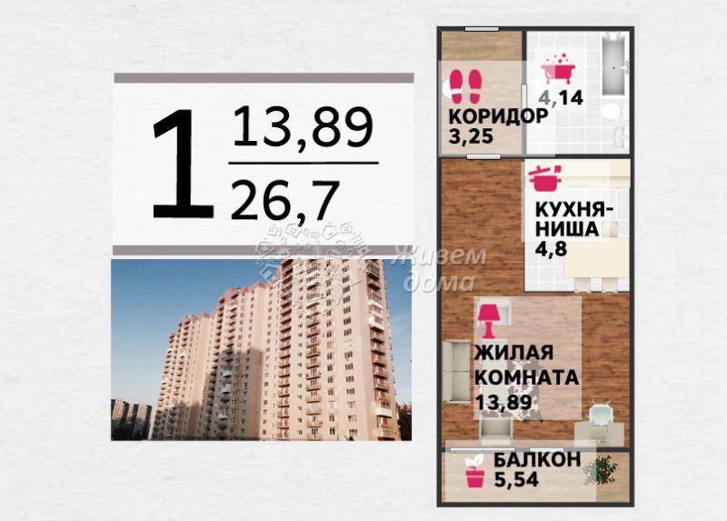 Продаётся 1-комн.               квартира,  Волгоград,               Дзержинский, 30-летия Победы б-р, 42